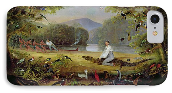 Charles Waterton Capturing A Cayman, 1825-26 IPhone Case by Captain Edward Jones