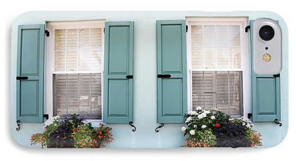Charleston Aqua Teal French Quarter Rainbow Row Flower Window Boxes IPhone Case by Kathy Fornal