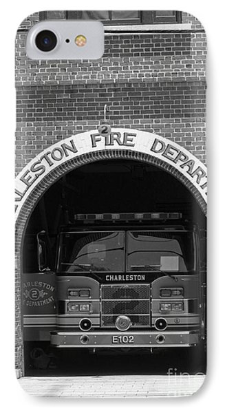 Charleston Fire Department - Black And White Phone Case by Suzanne Gaff