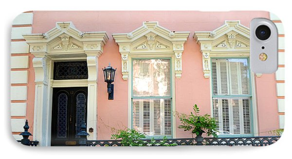 Charleston French Quarter District Mansion - Pink And Black French Architecture IPhone Case by Kathy Fornal
