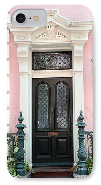 Charleston French Quarter Pink House - Charleston French Architecture Pink Black And White Door IPhone Case