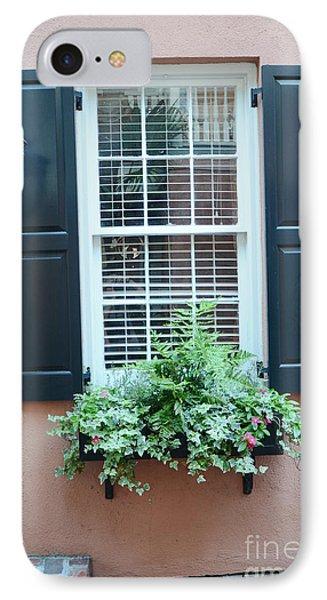 Charleston French Quarter Window Box And Street Lamp - Romantic Charleston Window Flower Boxes IPhone Case