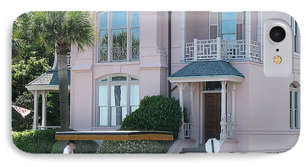Charleston Pink House Architecture With Horse And Carriage - Charleston Victorian Pink Homes  IPhone Case by Kathy Fornal