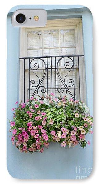 Charleston Window Box Flower Photography - Charleston Rainbow Row Blue Aqua Dreamy Flower Window Box IPhone Case by Kathy Fornal