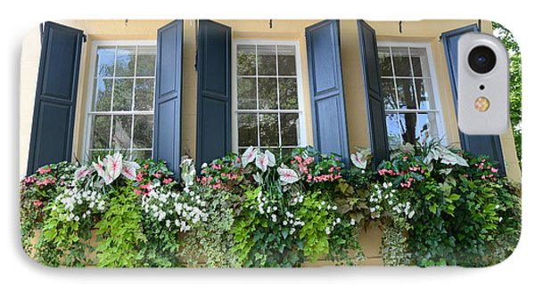Charleston Window Box Flower Photography - Charleston Yellow Blue Green Floral Window Boxes IPhone Case by Kathy Fornal