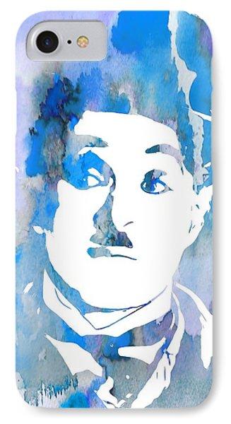 Charlie Chaplin Watercolor Blue IPhone Case