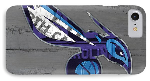 Charlotte Hornets Basketball Team Logo Vintage Recycled North Carolina License Plate Art IPhone Case