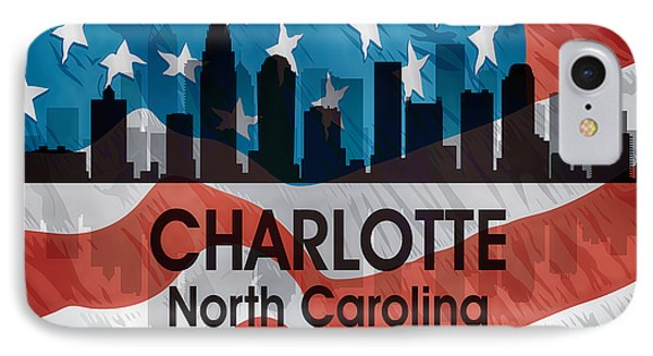Charlotte Nc American Flag Squared IPhone Case