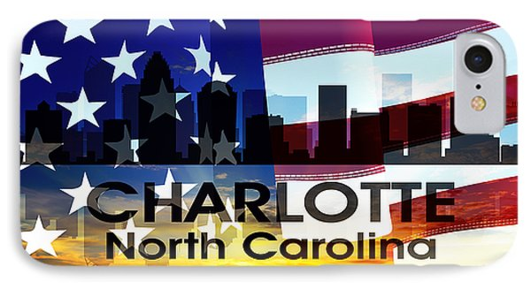 Charlotte Nc Patriotic Large Cityscape Phone Case by Angelina Vick