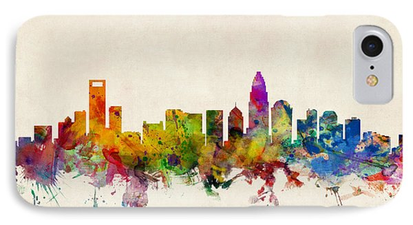 Charlotte North Carolina Skyline IPhone Case by Michael Tompsett