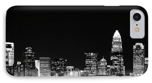 Charlotte Skyline At Night Black And White IPhone Case by Fred Koehl