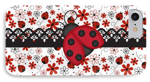 Charming Ladybugs IPhone 7 Case by Debra  Miller