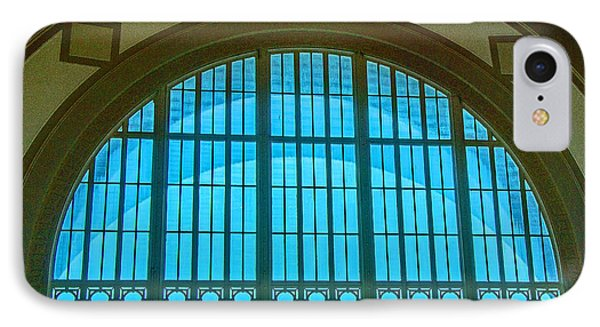 IPhone Case featuring the photograph Chattanooga Train Depot Stained Glass Window by Susan  McMenamin