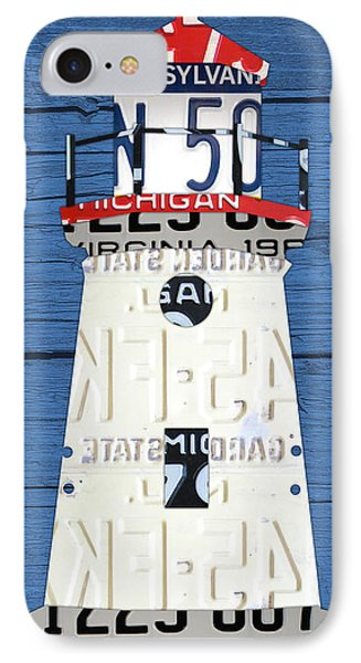 Cheboygan Crib Lighthouse Michigan Vintage License Plate Art On Wood IPhone Case by Design Turnpike