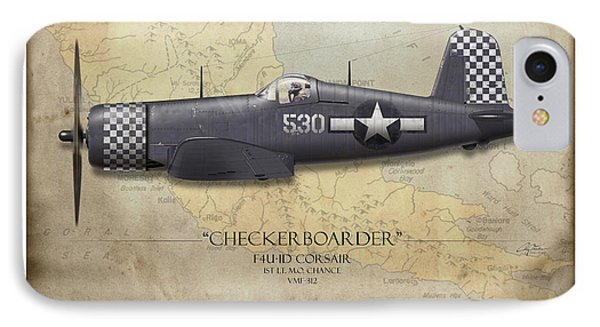 Checkerboarder F4u Corsair - Map Background IPhone Case