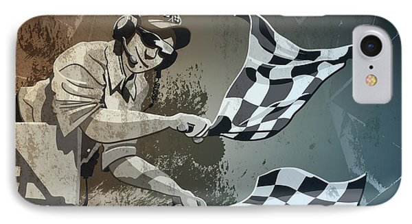 Checkered Flag Grunge Monochrome IPhone Case