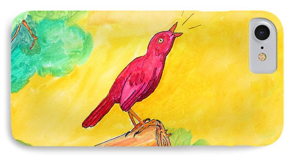Cheerful Red Bird In A Tree IPhone Case