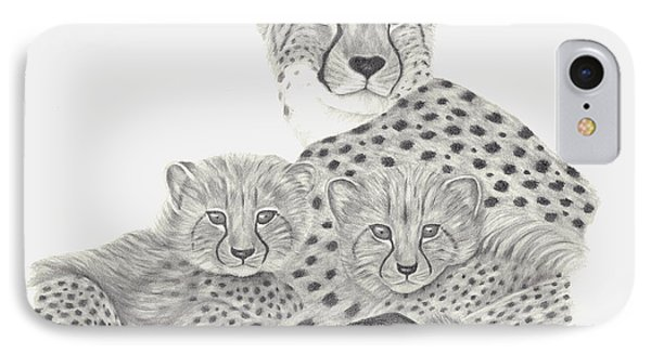 Cheetah And Her Cubs IPhone Case by Patricia Hiltz