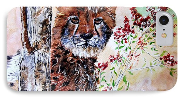 Cheetah Behind A Tree IPhone Case