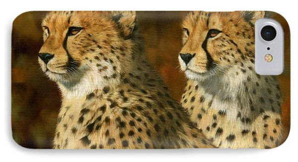 Cheetah Brothers IPhone Case by David Stribbling