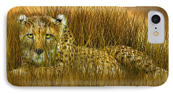 Cheetah - In The Wild Grass IPhone 7 Case by Carol Cavalaris