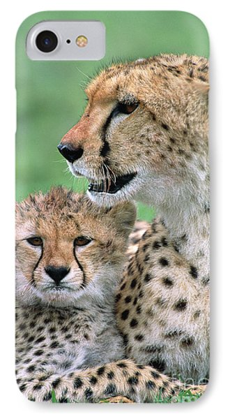 Cheetah Mother And Cub IPhone 7 Case by Yva Momatiuk John Eastcott