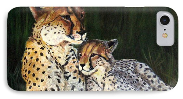 IPhone Case featuring the painting Cheetahs by LaVonne Hand