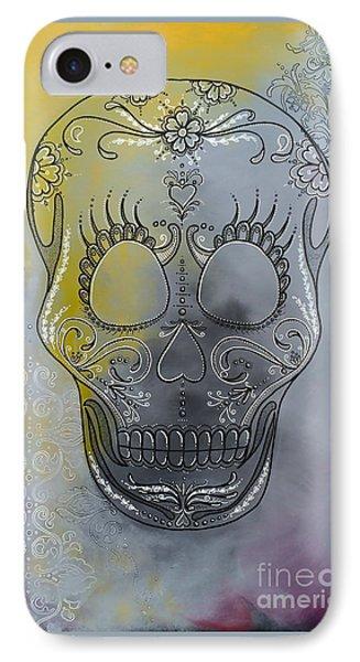 Chelsea Sugar Skull IPhone Case by Stephanie Troxell