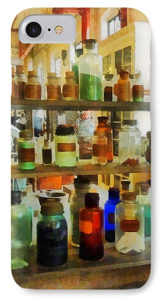 Chemistry - Bottles Of Chemicals Green And Brown Phone Case by Susan Savad