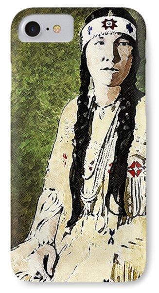 IPhone Case featuring the digital art Cherokee Woman by Lianne Schneider