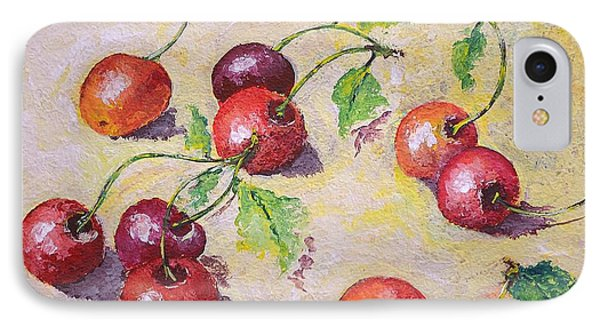 Cherries On The Ground IPhone Case by Kathleen Pio