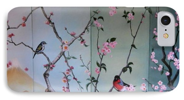 Cherry At The Foot Of Mount Fuji Phone Case by Sorin Apostolescu
