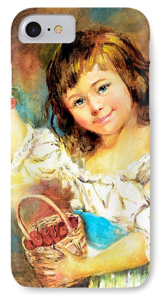 IPhone Case featuring the painting Cherry Basket Girl by Sher Nasser