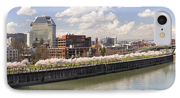 Cherry Blossom Along Portland Oregon Waterfront Panorama IPhone Case by Jit Lim