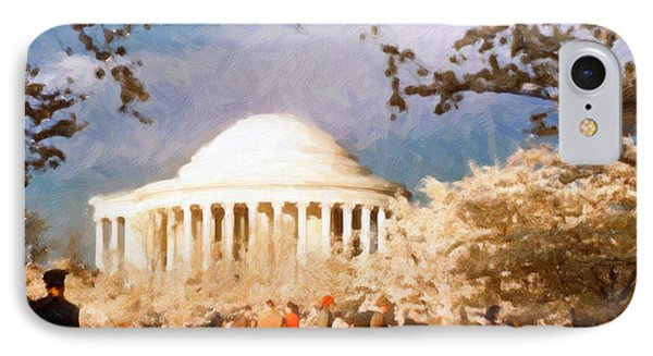 IPhone Case featuring the painting Cherry Blossom Jefferson Memorial 1950s by Spyder Webb