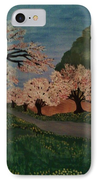 IPhone Case featuring the painting Cherry Blossom Path by Christy Saunders Church