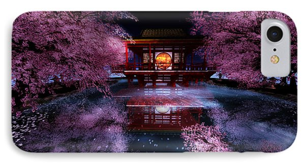 Cherry Blossom Tea House IPhone Case by Kylie Sabra
