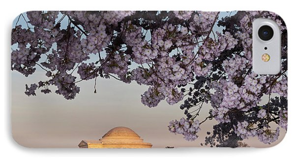Jefferson Memorial iPhone 7 Case - Cherry Blossom Tree With A Memorial by Panoramic Images