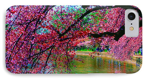 Cherry Blossom Walk Tidal Basin At 17th Street IPhone Case