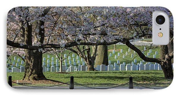 Cherry Blossoms Adorn Arlington National Cemetery IPhone Case by Susan Candelario