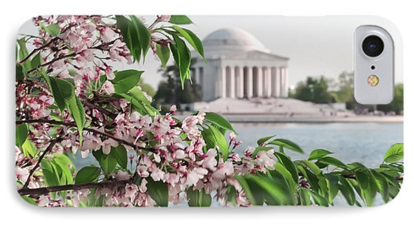 IPhone Case featuring the photograph Cherry Blossoms And The Jefferson Memorial 2 by Mitchell R Grosky