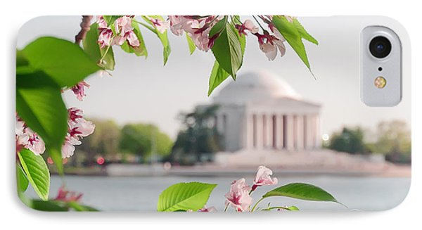 IPhone Case featuring the photograph Cherry Blossoms And The Jefferson Memorial by Mitchell R Grosky