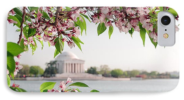 IPhone Case featuring the photograph Cherry Blossoms And The Jefferson Memorial Panorama by Mitchell R Grosky