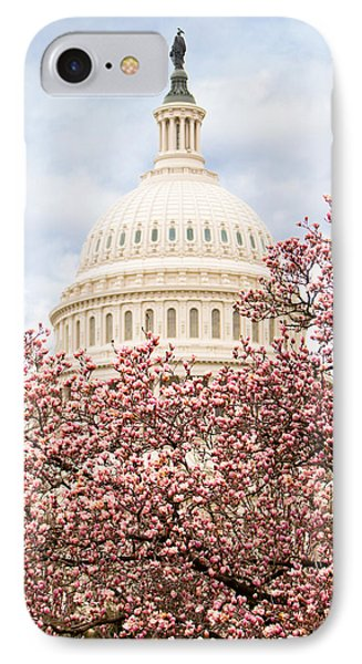 Cherry Blossoms At The Capitol Building IPhone Case by Susan Schmitz