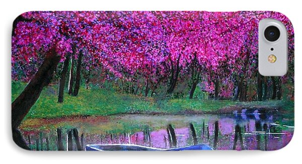 Cherry Blossoms By The Lake IPhone Case by Marie-Line Vasseur