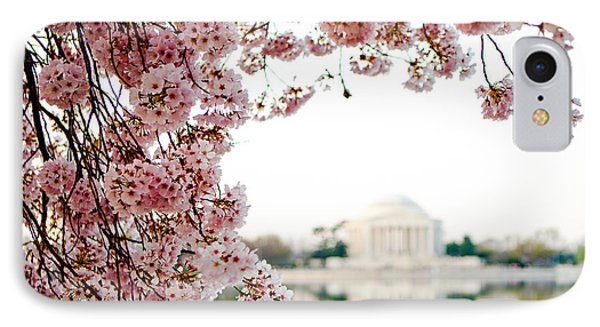 Cherry Blossoms Framing The Jefferson Memorial IPhone Case by Susan Schmitz