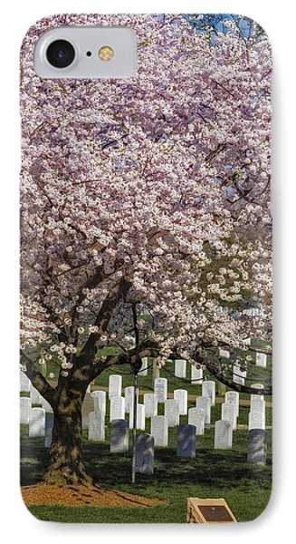 Cherry Blossoms Grace Arlington National Cemetery IPhone Case by Susan Candelario