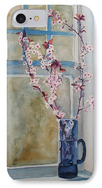 Cherry Blossoms In A Blue Pitcher IPhone Case by Jenny Armitage
