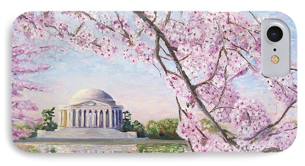 Jefferson Memorial iPhone 7 Case - Jefferson Memorial Cherry Blossoms by Patty Kay Hall