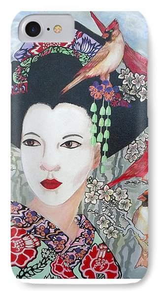 IPhone Case featuring the painting Cherry Blossoms by Suzanne Silvir